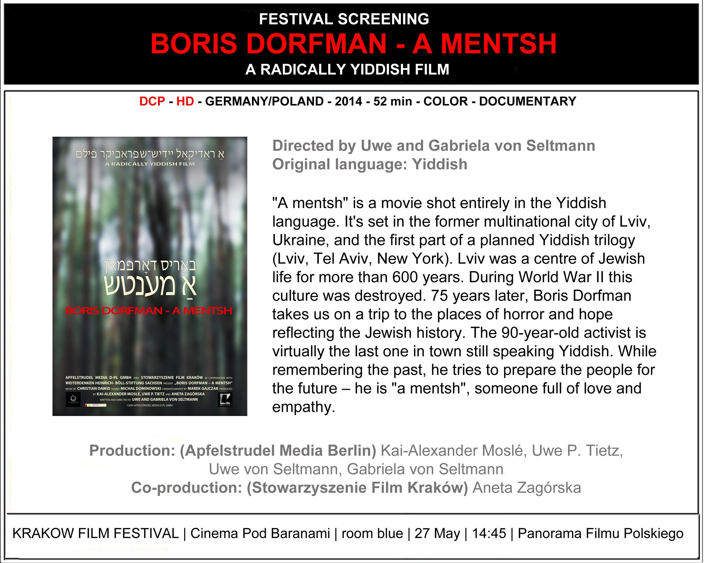 """Boris Dorfman - A Mentsh"" at Krakow Film Festival 2014"