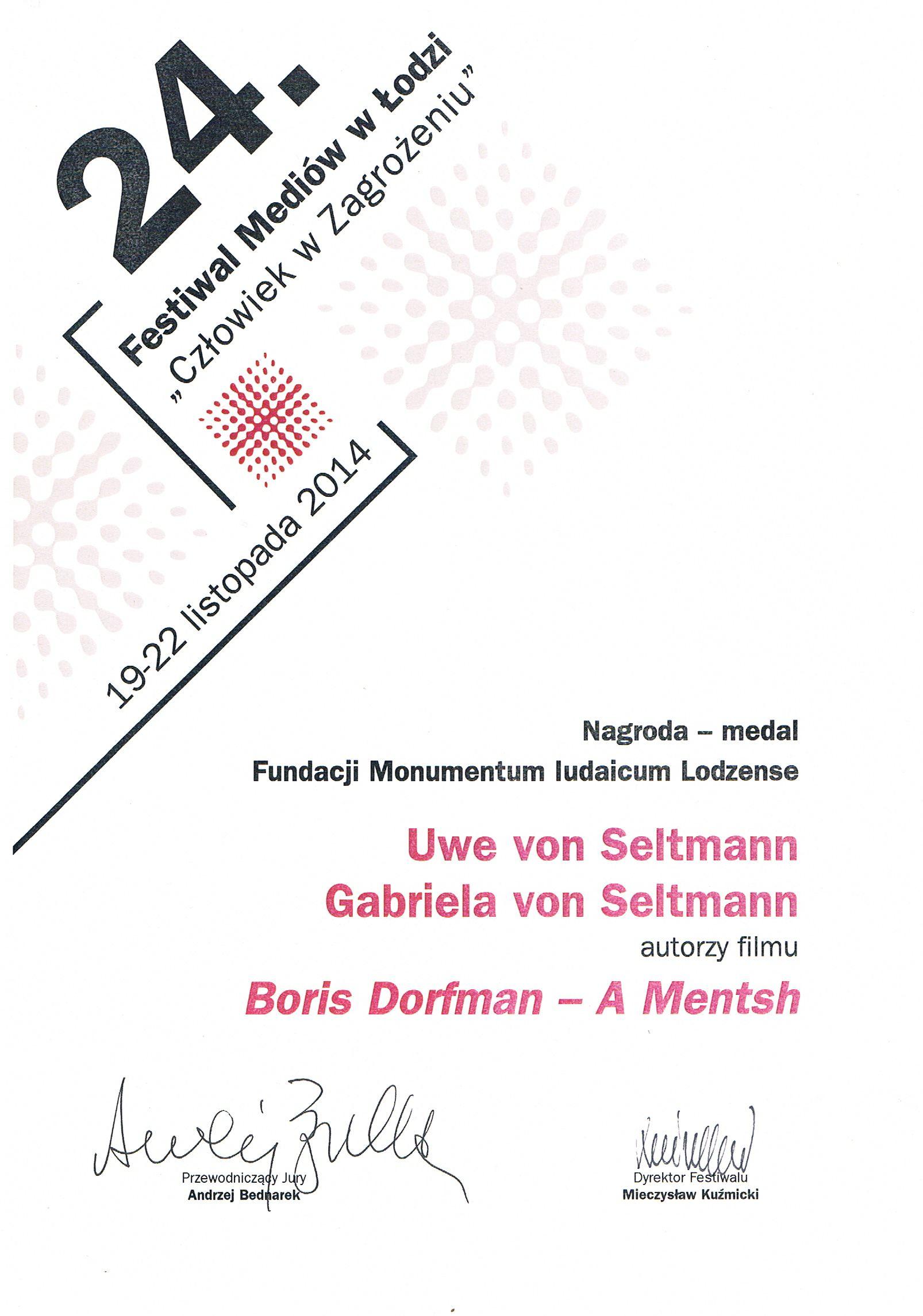 Festival Lodz - Urkunde